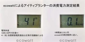 エコワットで測定したアイティプランターの消費電力